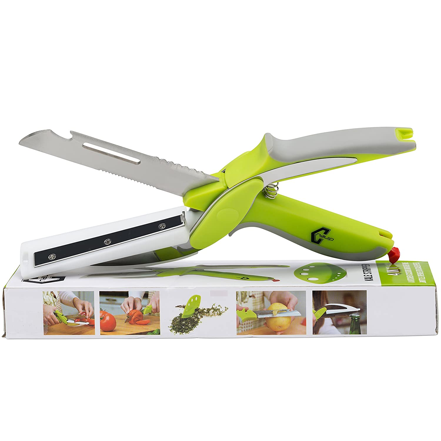 6 In 1 DineU Multipurpose Clever Food Cutter-Slicer, Cutter, Dicer for Vegetables, Fruits Meat and Cheese Kitchen Knife Combines A Scissor And Cutting Board Fish Scaler - PLUS Free Bonus Kale Stripper