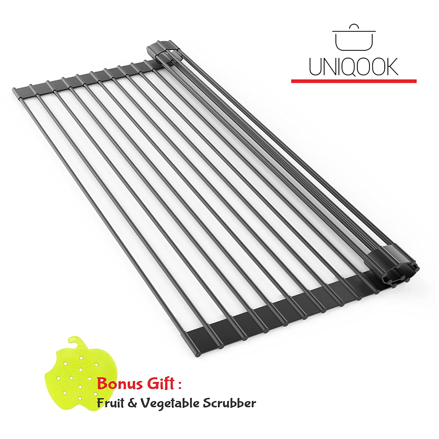Uniqook Roll Up Dish Drying Rack - Over the Sink Multipurpose XL Silicone Stainless Steel Dishes Drainer, Drain Board Colander Mat and Dry Dishes Organizer, for Pans Bottles Bowls, Foldable Storage