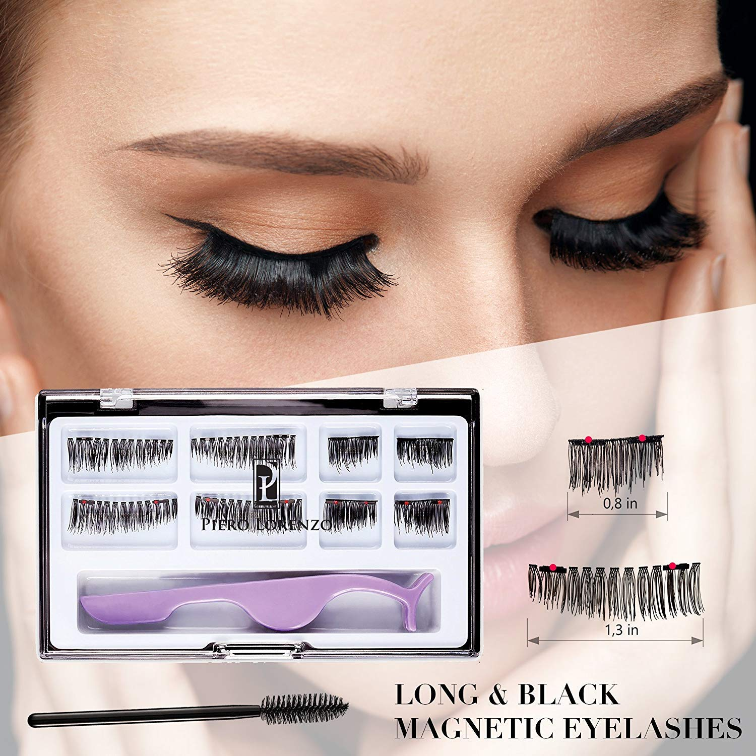 3b6b93b84b6 Dual Magnetic False Eyelashes Extension Set (8 pieces) - Full Size and Half  Size Fake Lashes in One Set with Tweezers and Brush - Reusable and Easy to  Apply ...