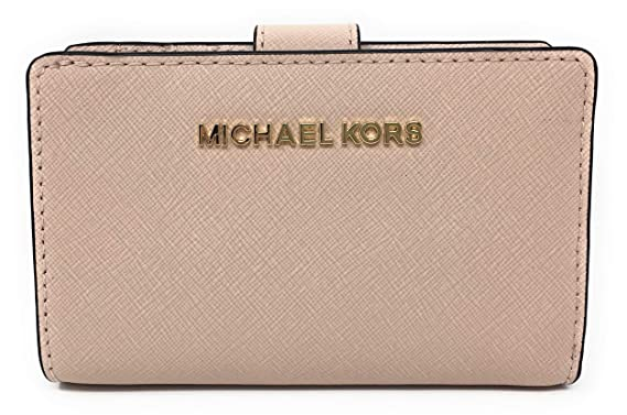 d42c745e0c96d0 Michael Kors Jet Set Travel Saffiano Leather Bifold Zip Coin Wallet (Ballet)