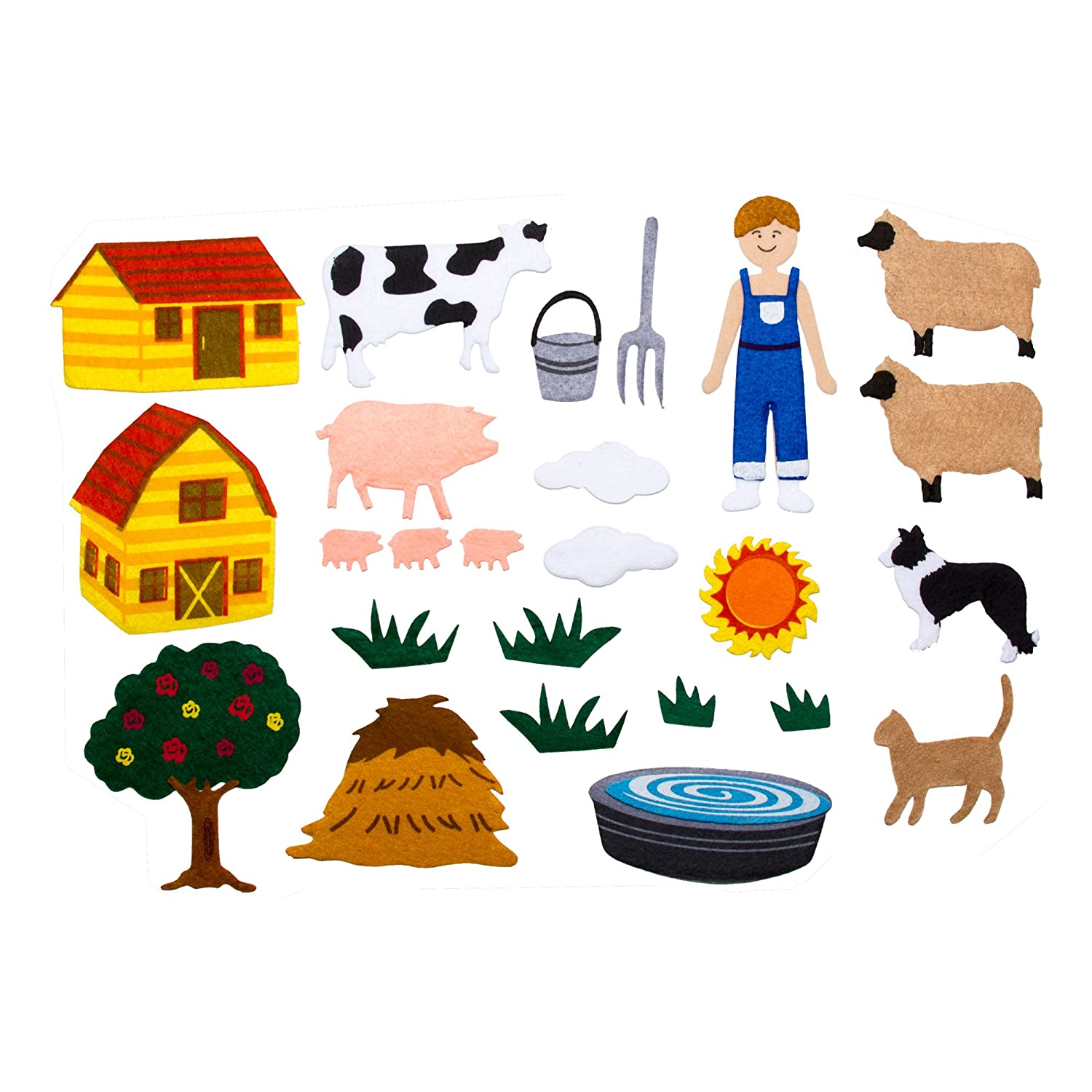 Cows Sheep and Cabin School Outfitters SPG-ENA1053-SO Barn Felt Storyboard w// Pigs