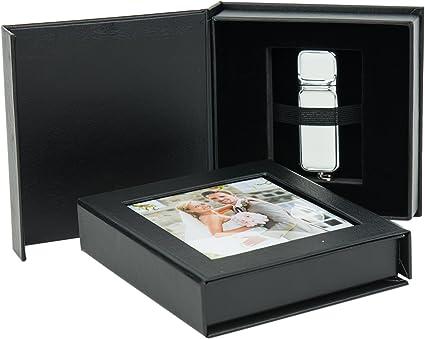 Elegante Disk Boda USB de Caja con Ventana. Color Blanco, Negro ...
