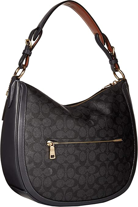 86ad2fb54061 Amazon.com  COACH Women s Coated Canvas Signature Sutton Hobo Gold Charcoal  Midnight Navy One Size  Shoes