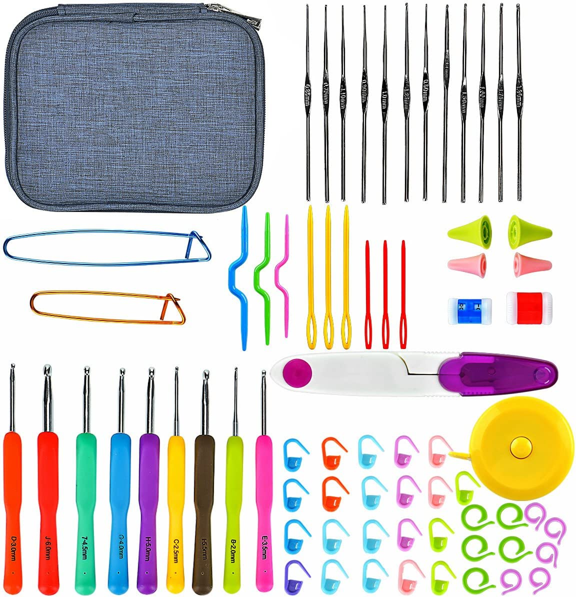 Juego de ganchillos de crochet,45Pcs Kit de Ganchillos Coloridas Accesorios con Bolsa,Incluyendo los ganchos de tejer, las tijeras,las agujas y más Perfecto para Tejer en Ganchillo Proyectos