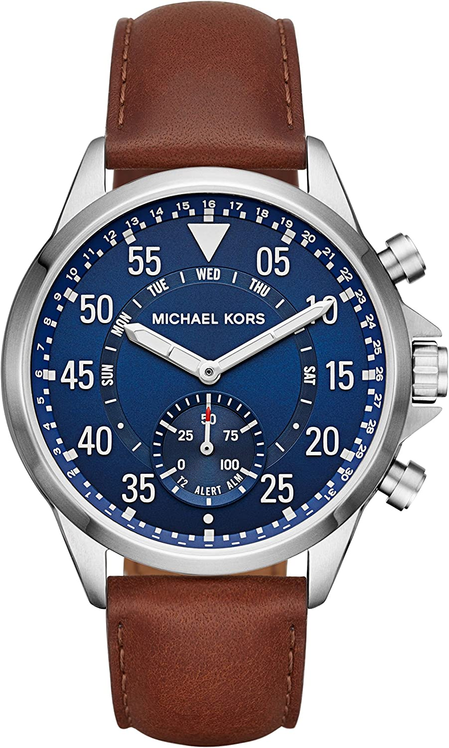 Michael Kors Mens Silvertone Leather Strap Gage Hybrid Smart Watch