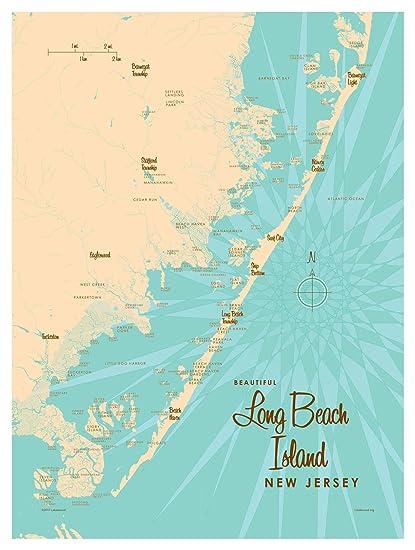 Amazon.com: Long Beach Island, New Jersey Map Vintage-Style Art ...