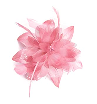 bb56598569624 Dusky Pink Feather Comb Fascinator Brooch Pin Ladies Day Royal Ascot  Weddings