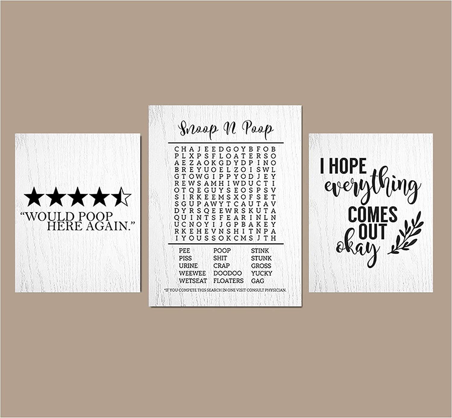 Silly Goose Gifts Bathroom Themed Decor Art Print Wall Art Funny Gift Sets Typography Rustic Unframed Pictures Signs Rules (Star Rating)