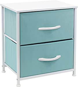 Sorbus Nightstand with 2 Drawers - Bedside Furniture & Accent End Table Chest for Home, Bedroom Accessories, Office, College Dorm, Steel Frame, Wood Top, Easy Pull Fabric Bins (Pastel Aqua)