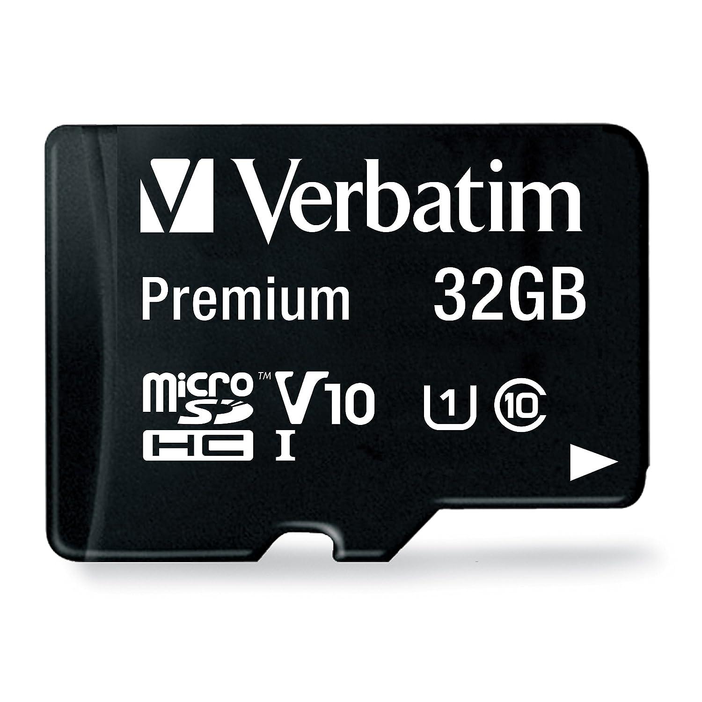 Verbatim 32GB Premium MicroSDHC Memory Card with Adapter, UHS-I Class 10-44083 VERBATIM CORPORATION Flash Memory Devices