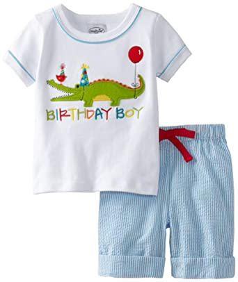 cdf7bffbb7eb Amazon.com  Mud Pie Baby Boys  Birthday Boy 2 Piece Alligator Set ...