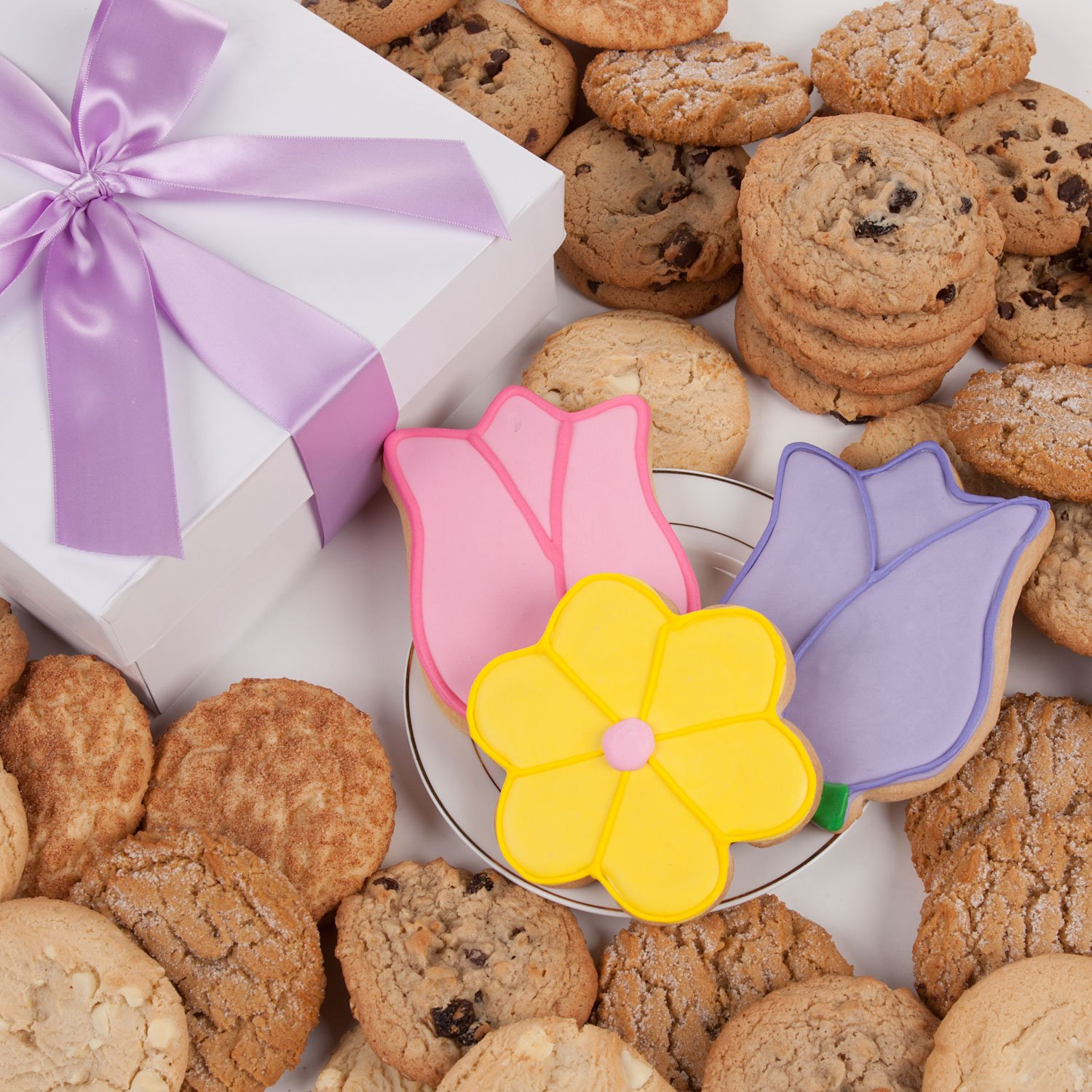 Tulips and Daisy Signature Cookie Gift Box- 12 Pc. by Lady Fortunes (Image #1)