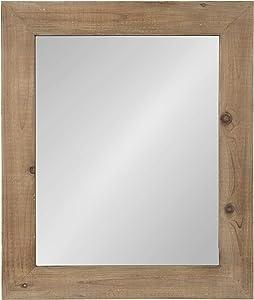 Kate and Laurel Garvey Wood Framed Wall Mirror, 36x30, Rustic Brown