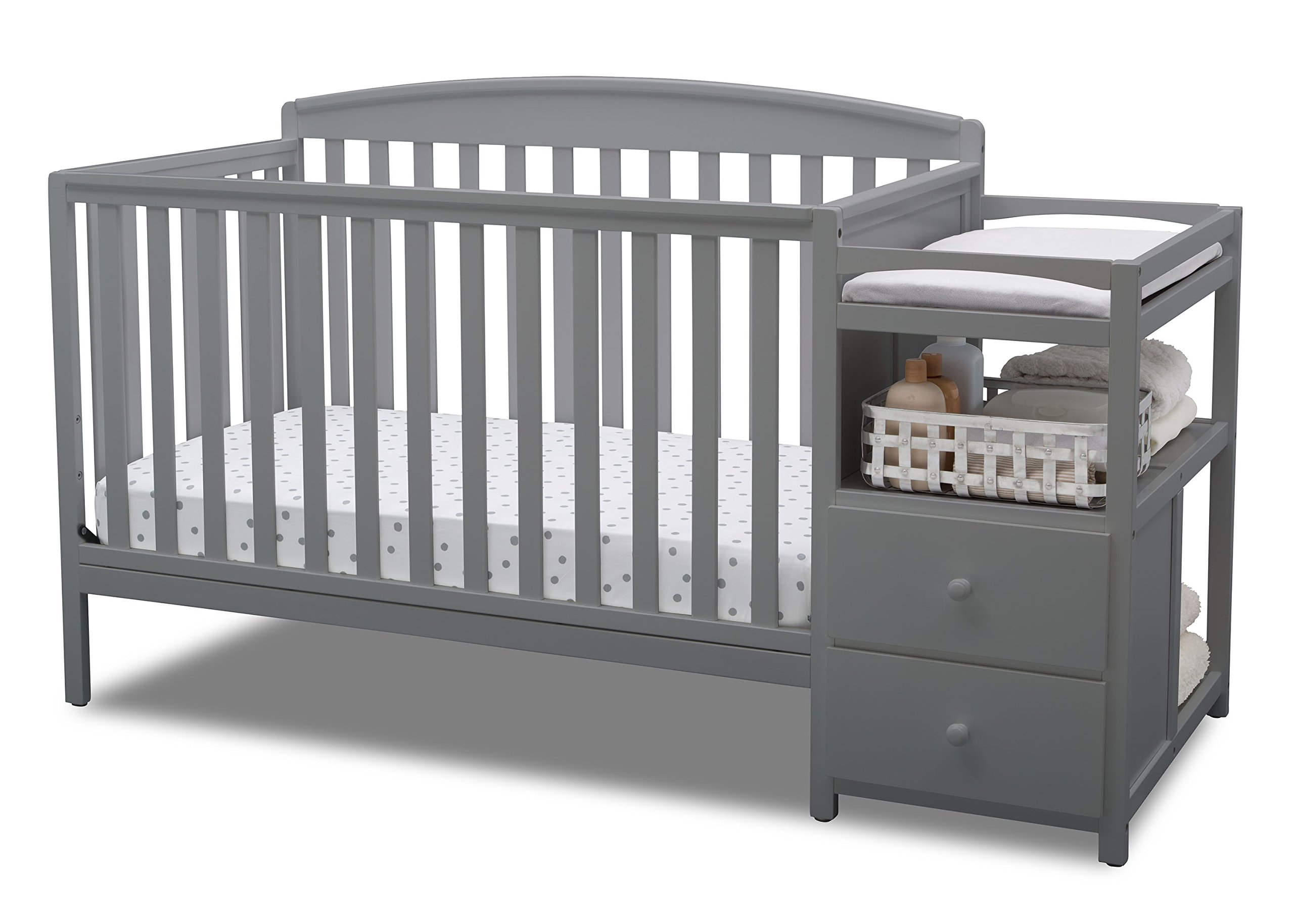 Gray All-In-One Convertible Crib, Toddler Bed, Daybed, and Changing Table Combo with Slates, Storage Drawers and Shelves