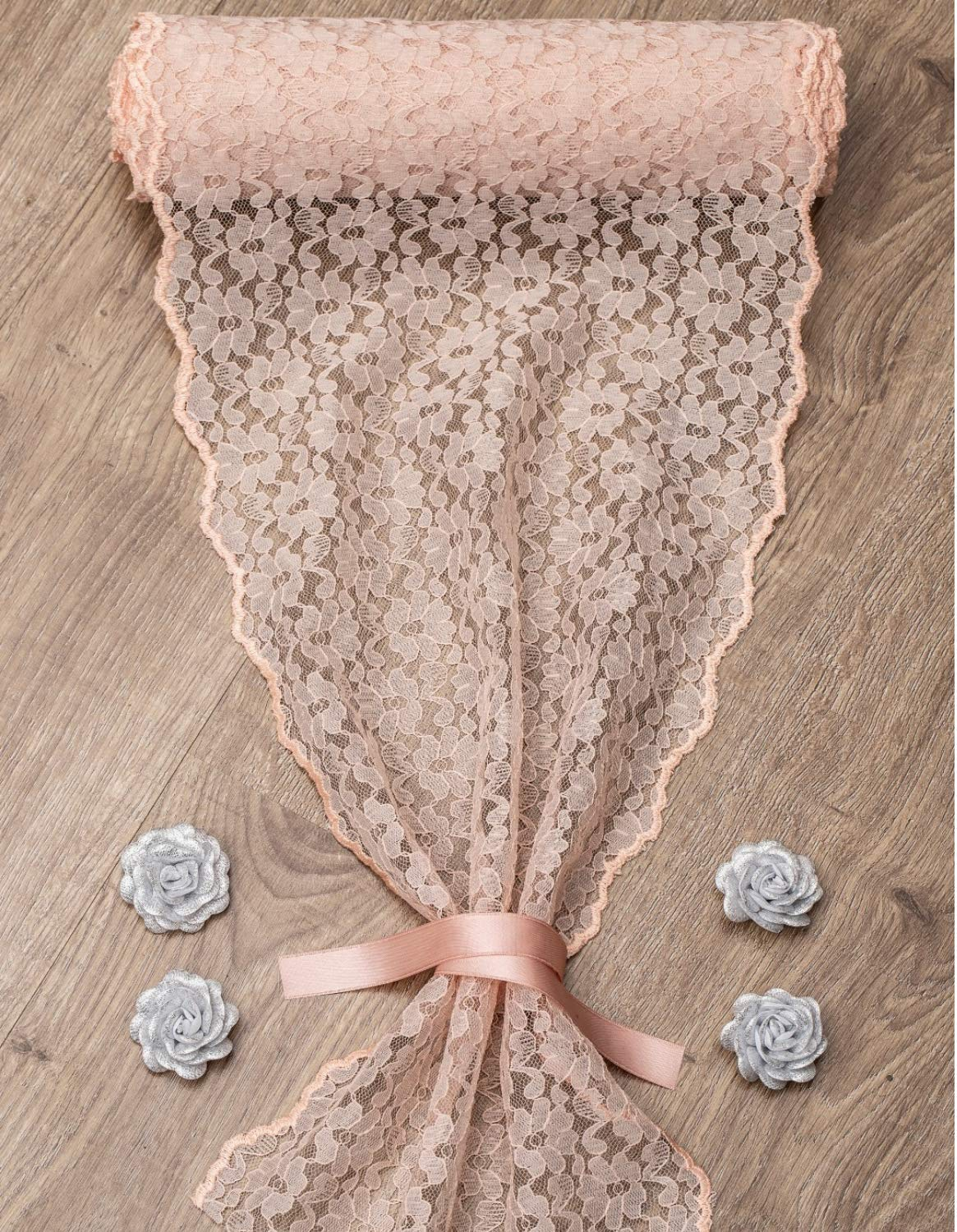 Feminen Textile Lace Table Runner-Boho and Vintage Classy Design- For Restaurants, Hotels and Wedding Reception Decor- 12-inch X 110-inch-Blush Pink