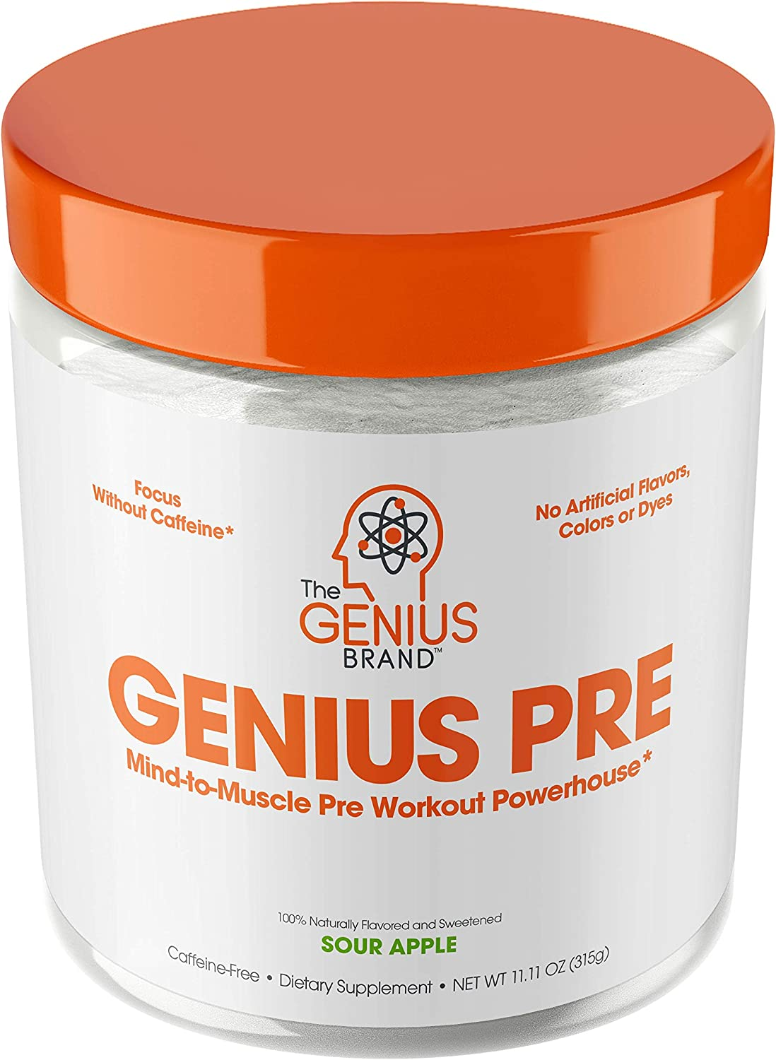 Genius Pre Workout Powder All Natural Nootropic Preworkout Caffeine Free Nitric Oxide Booster w Beta Alanine Alpha GPC Boost Focus, Energy NO Muscle Builder Supplement Sour Apple 20SV