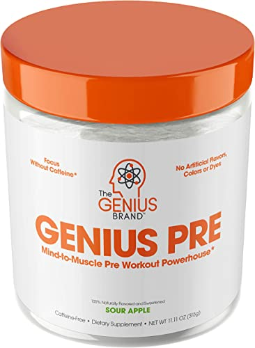 Genius Pre Workout Powder All Natural Nootropic Preworkout Caffeine Free Nitric Oxide Booster w Beta Alanine Alpha GPC Boost Focus, Energy NO Muscle Builder Supplement Essential Herbs