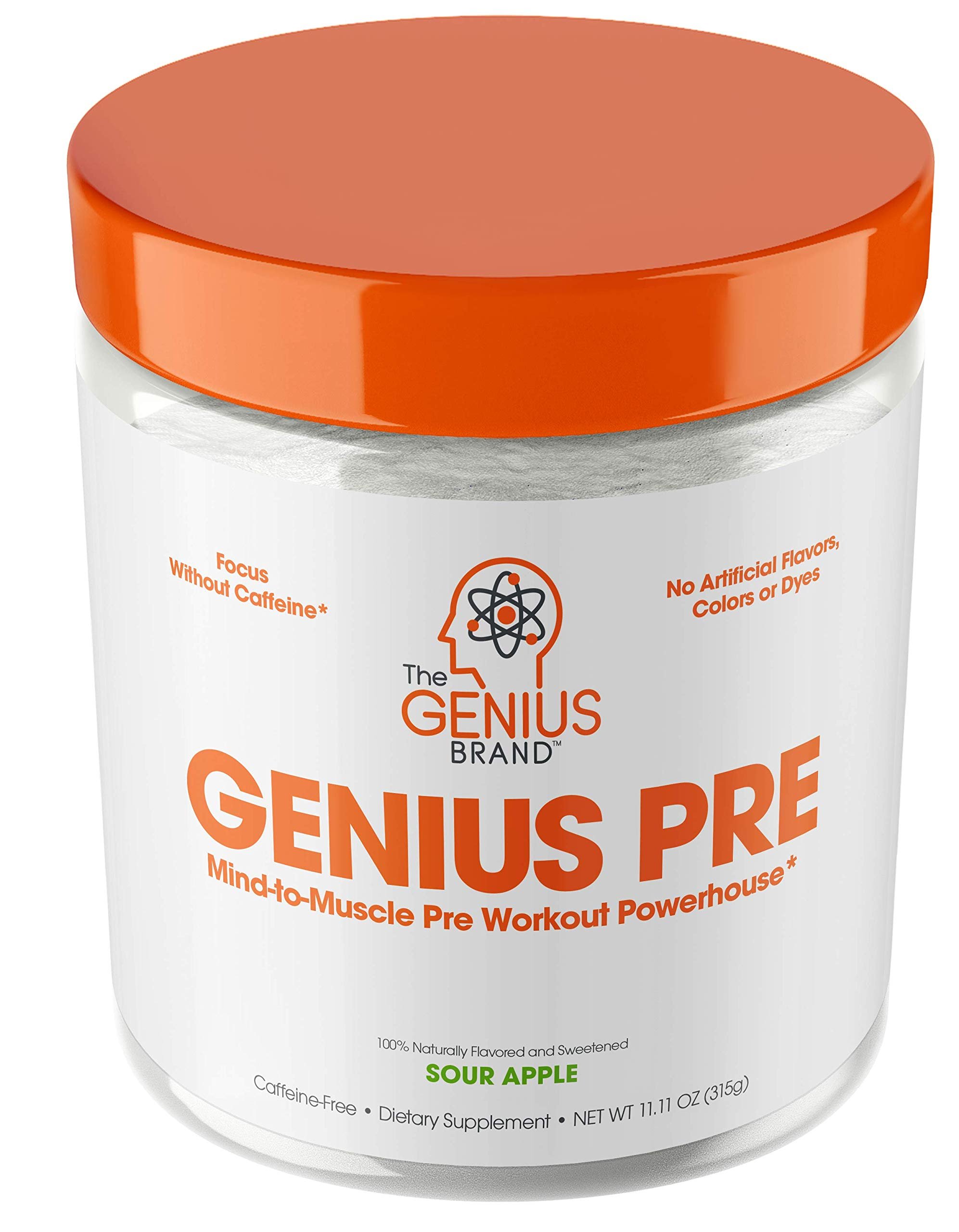 Genius Pre Workout Powder - All Natural Nootropic Preworkout & Caffeine Free Nitric Oxide Booster w/Beta Alanine & Alpha GPC | Boost Focus, Energy & NO | Muscle Builder Supplement -Sour Apple - 20SV by The Genius Brand