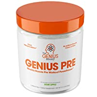Genius Pre Workout Powder – All Natural Nootropic Preworkout & Caffeine Free Nitric...