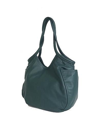 5be3401b6e53 Amazon.com  Fgalaze Green Leather Hobo Bag