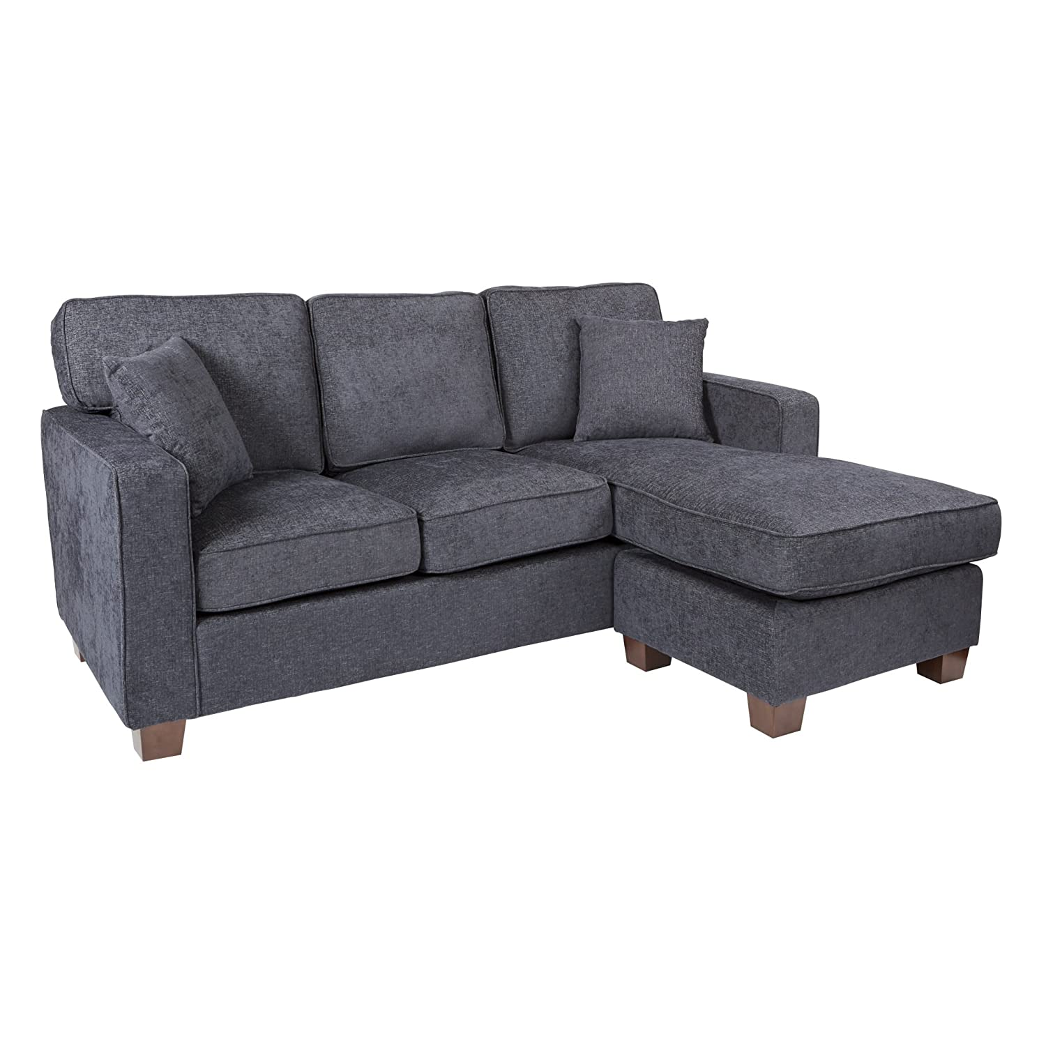 AVE SIX Russell Sectional Sofa with 2 Pillows and Coffee Finished Legs, Navy Fabric