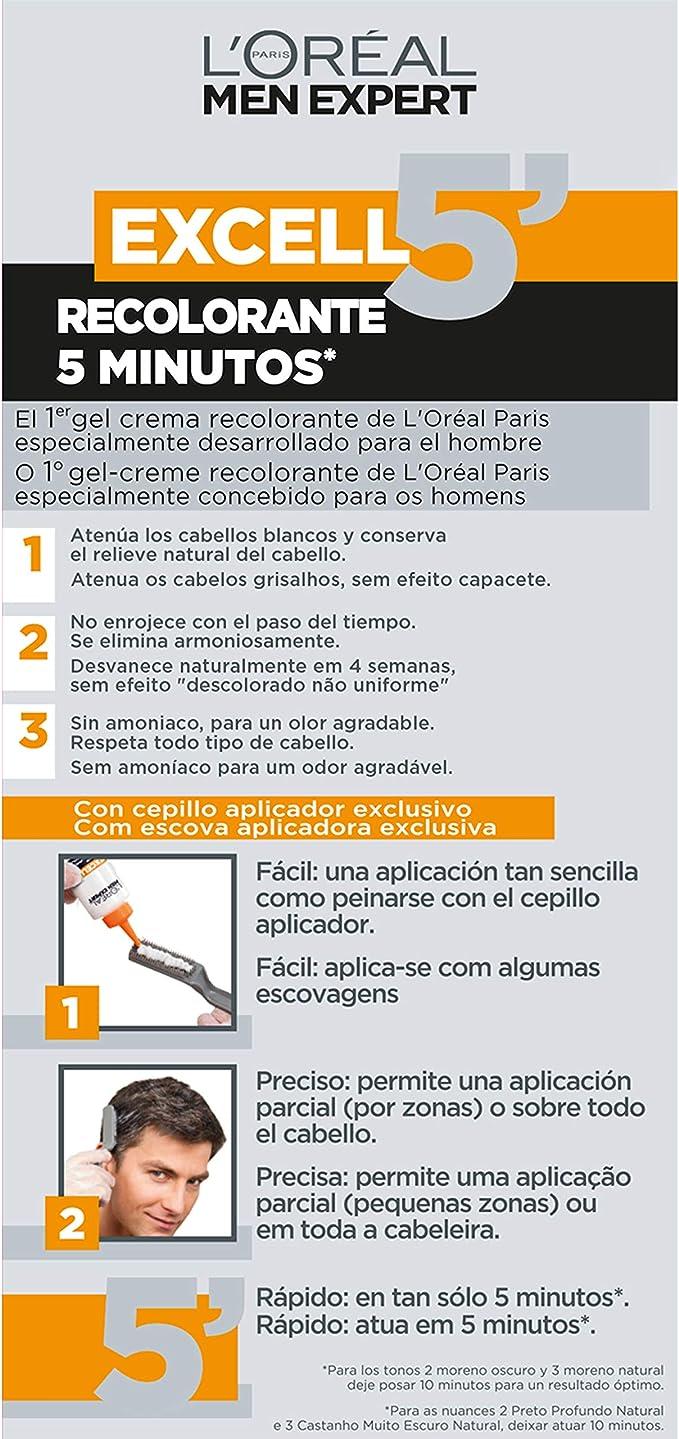 LOréal Paris Excell 5 Gel Crema Recolorante, Tono: 4 Castaño ...
