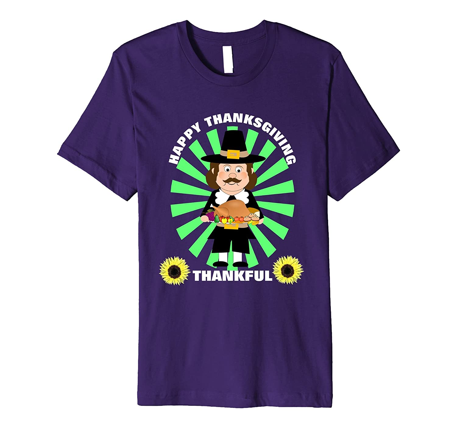 Cute Pilgrim Turkey Thanksgiving Dinner Thankful Fun T-Shirt-Art