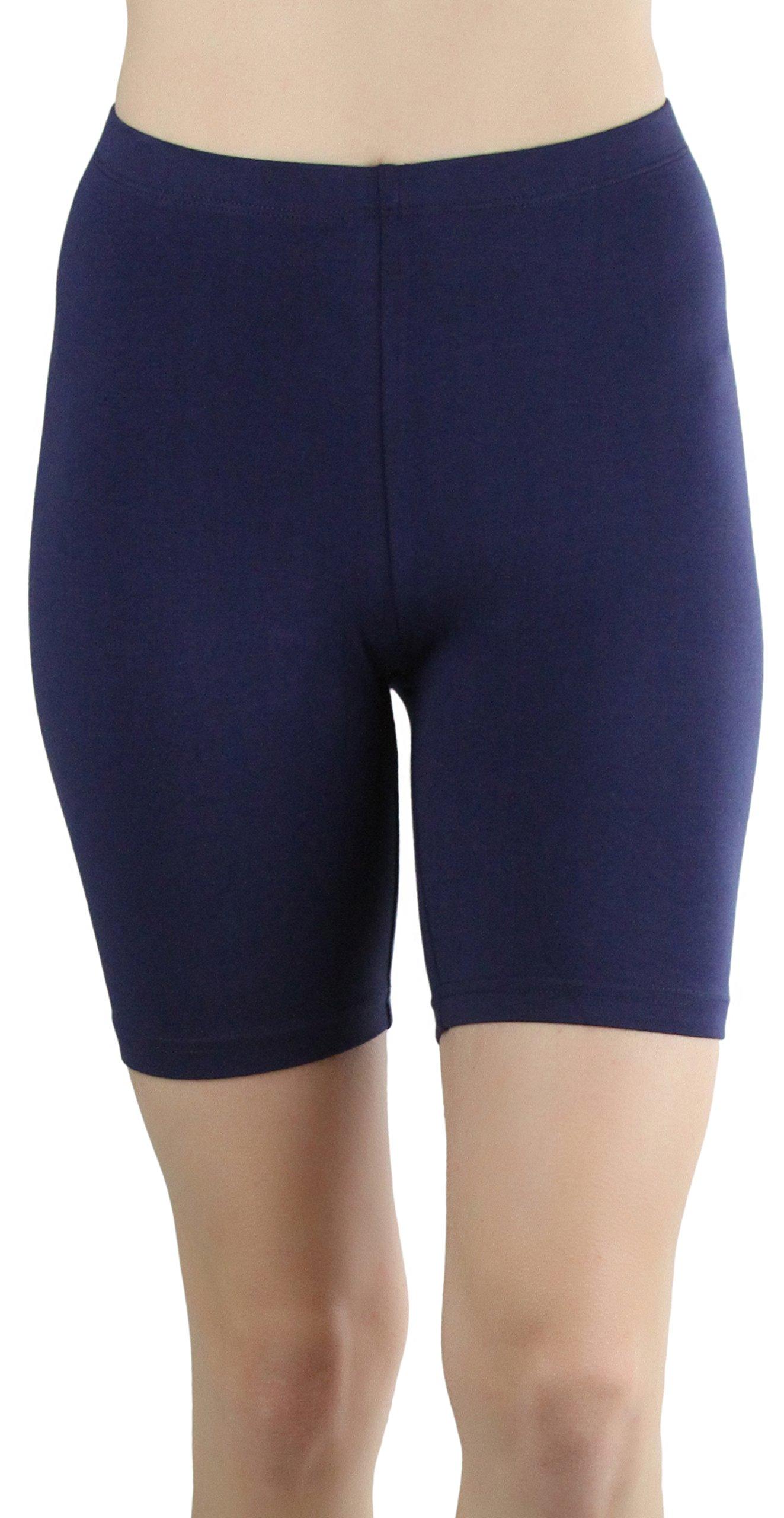 ToBeInStyle Women's Cotton-Spandex Blend 15'' Outseam Shorts (XL, Navy)