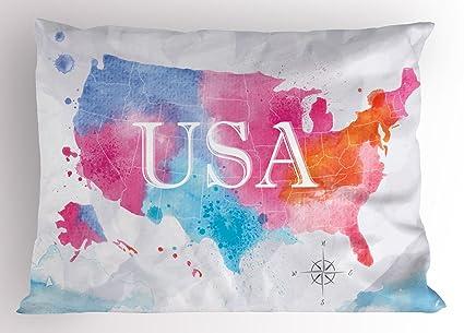 Amazon Com Lunarable Usa Map Pillow Sham Watercolor Style American