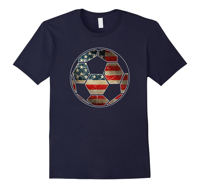 American Flag on Soccer Ball T-Shirt - Soccer Ball Flag Tee-ANZ