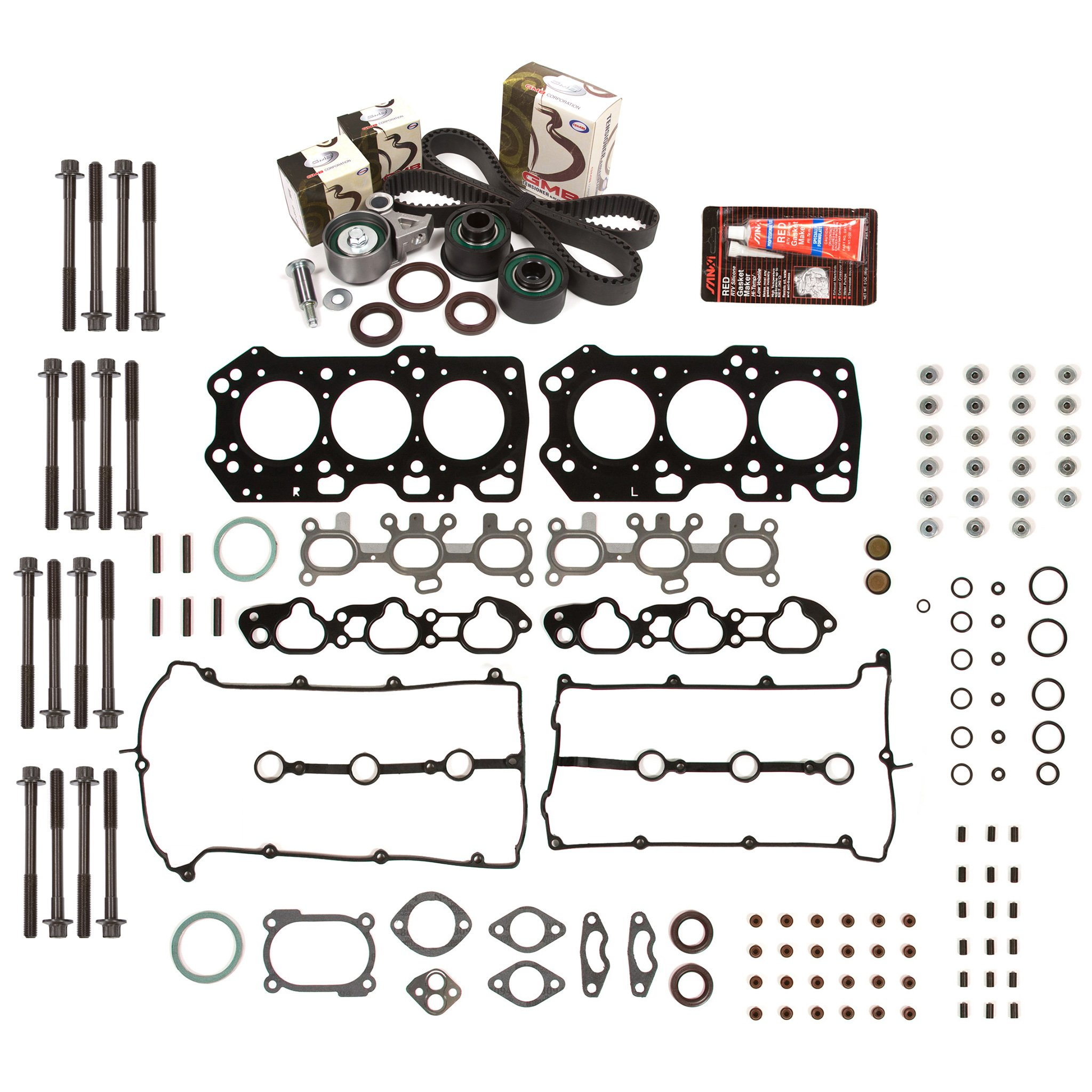 Evergreen HSHBTBK6015 Head Gasket Set Head Bolts Timing Belt Kit 93-02 Mazda Ford 2.5 DOHC KL by Evergreen Parts And Components