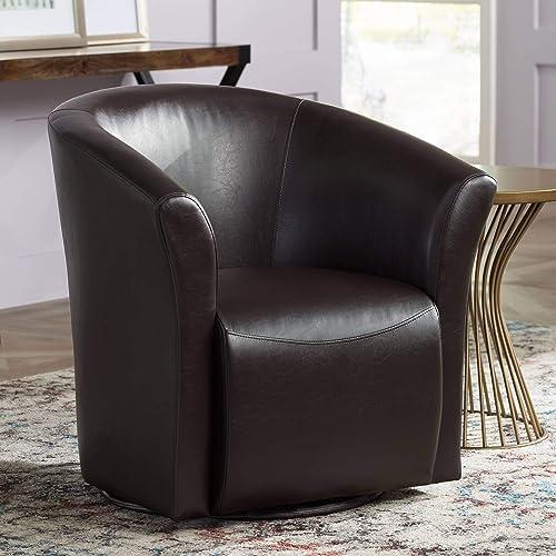 Rocket Rivera Brown Swivel Accent Chair