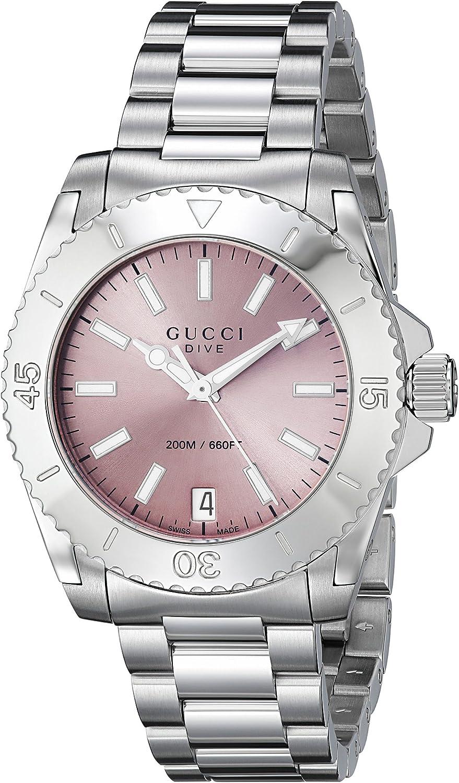 Gucci Dive Analog Display Swiss Quartz Silver Women's Watch(Model:YA136401)