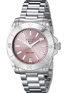Gucci Dive Analog Display Swiss Quartz Silver Womens Watch(Model:YA136401)