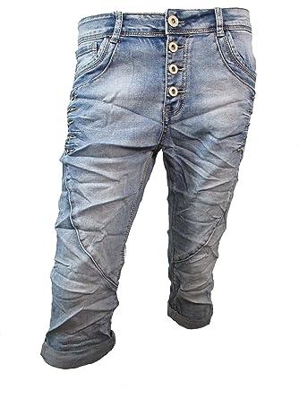 LEXXURY Femmes Denim Cardage Boyfriend baggy Stretch Shorts Bermuda Boutons  Rangée Ouverte de Boutons - Denim d16c775576cf