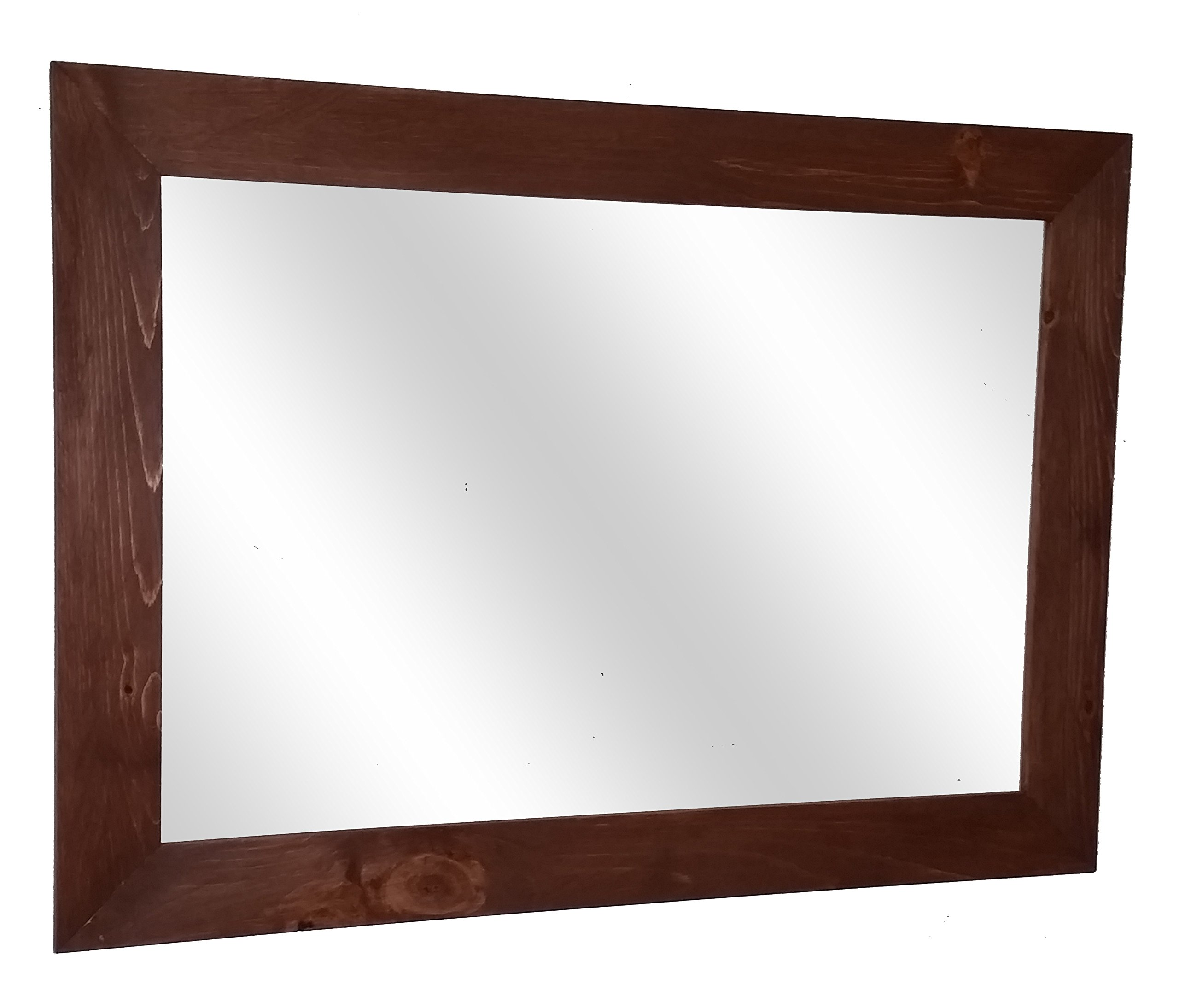 Shiplap Mirror 42 x 30 Horizontal English Chestnut Stain Reclaimed Wood Mirror - Large Wall Mirror - Rustic Modern Home - Home Decor - Mirror - Housewares - Woodwork - Frame by Renewed Decor