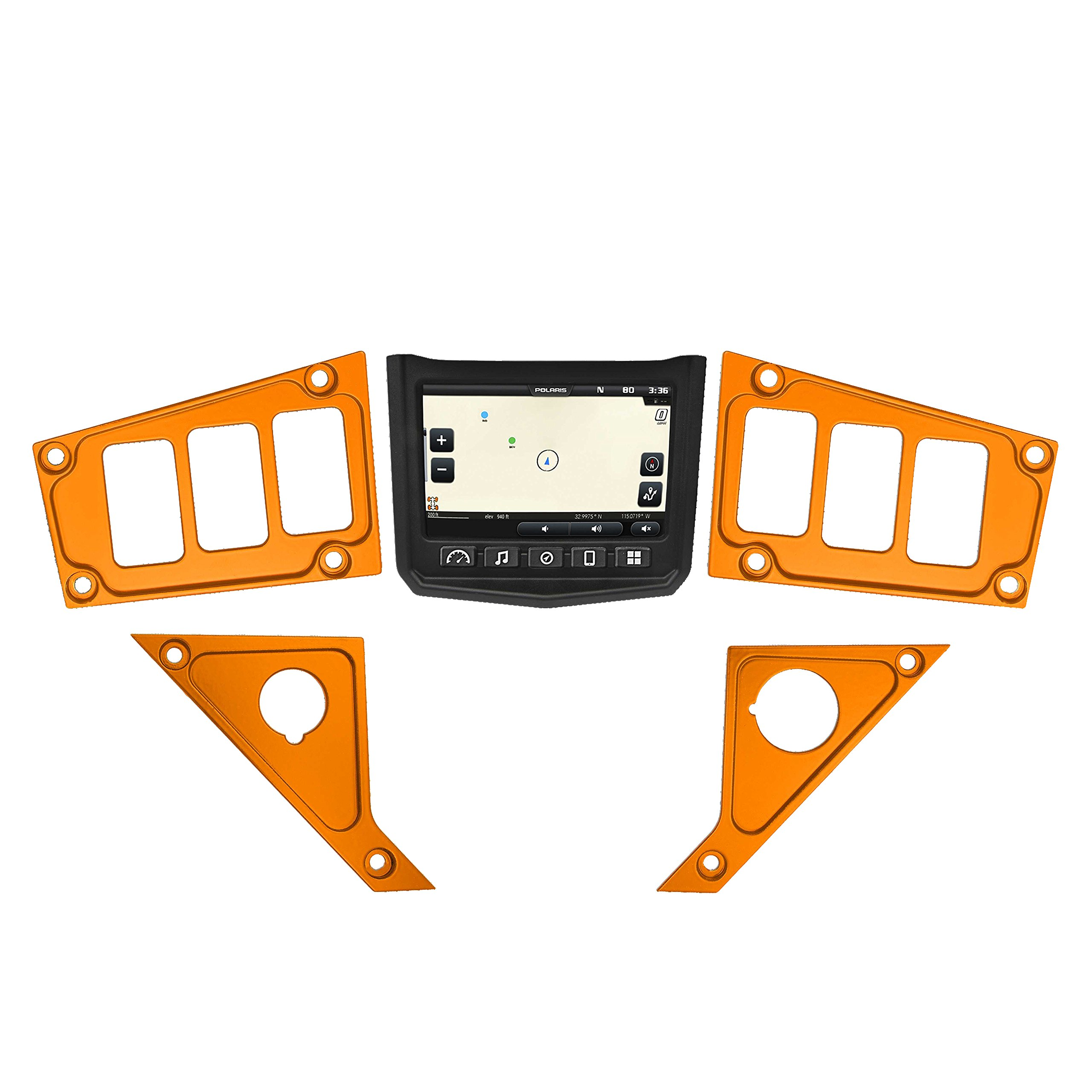 STV Motorsports 2017-2018 Polaris RZR XP 1000 RIDE COMMAND Custom Switch Dash Panel Plates - 100% MADE in USA (short kit, orange)