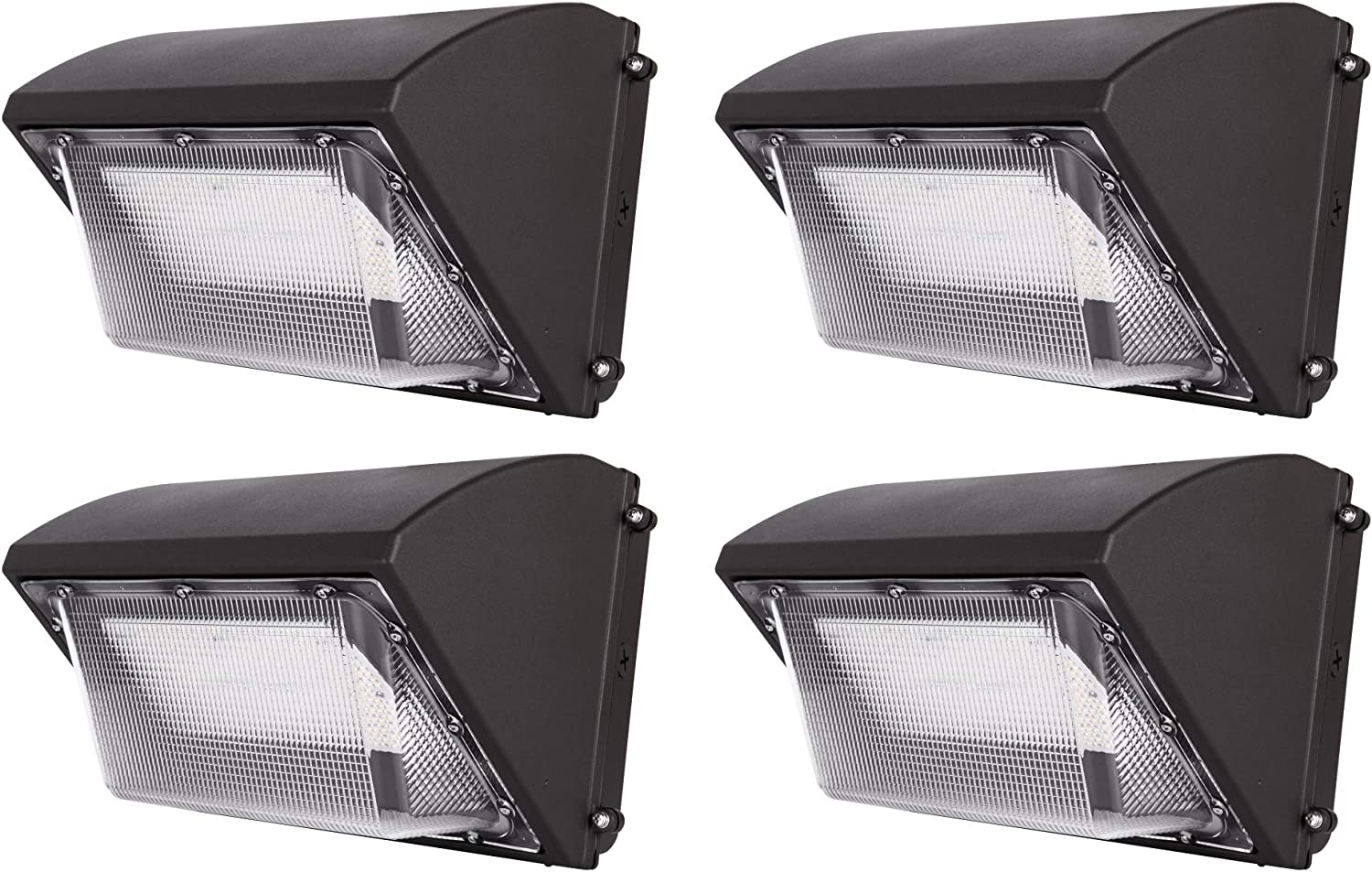 Hyperikon LED Wall Pack, Commercial Outdoor Lighting, UL, DLC, 50 Watts, 4 Pack