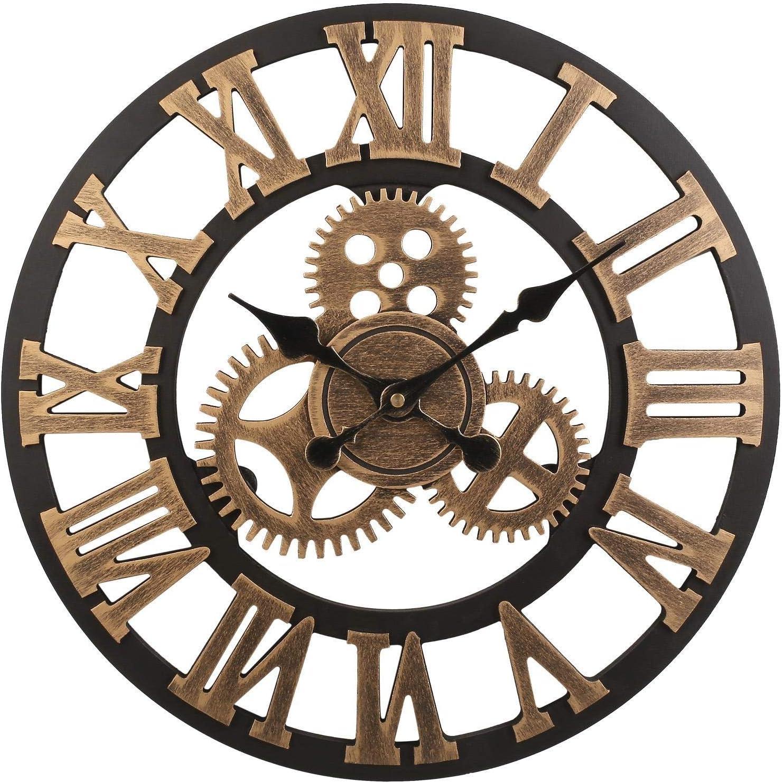 Flower-Xia Vintage Mute Roman Reloj de Pared con Engranajes en 3D, Reloj de Pared Retro con Equipo Decorativo para la Decoración de la Cocina del Hogar y Sala de Estar