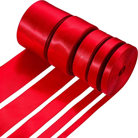 25mm Wine Red Satin Single Side Ribbon Gift Wrapping Christmas ribbon gold edge