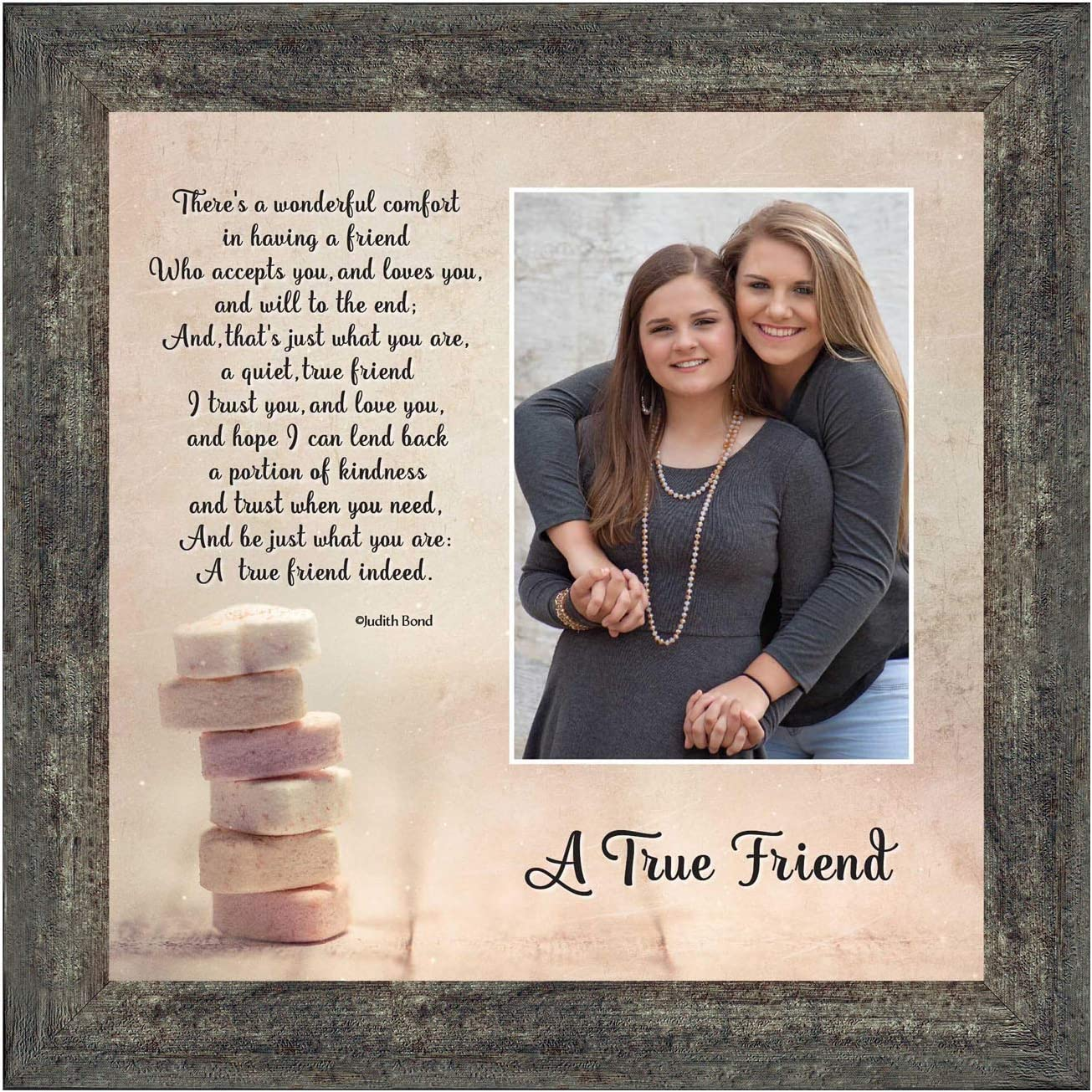 Crossroads Home Décor Birthday Gifts for Women, Bridesmaid Gifts, Friendship Gift for Women, Thank You Gifts, Housewarming Gift, A True Friend 4x6 Picture Frame, 6312BW