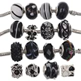 RUBYCA Murano Lampwork Charm Glass Beads Tibetan Crystal European Bracelet Mix Assortment Black 15Pcs