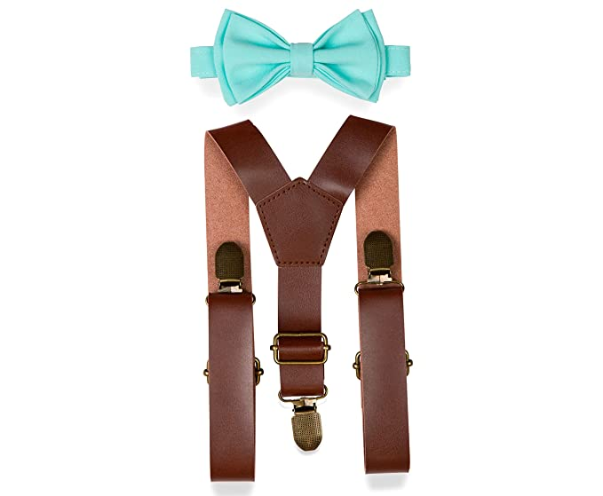 085b56f25482 Brown PU Leather Suspenders Bow Tie Combo for Baby Toddler Boy Men (1. Baby