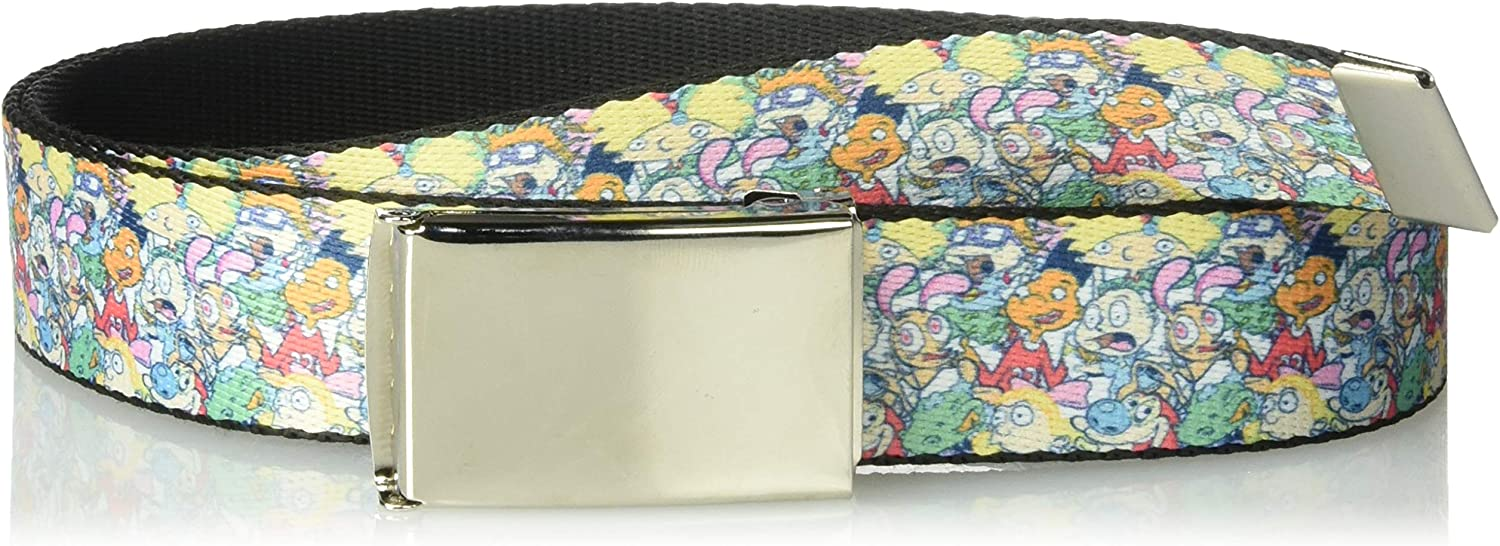 Wide-Fits up to 42 Pant Size Multicolor Nickelodeon Mens Buckle-Down Web Belt Rockos Modern Life 1.25