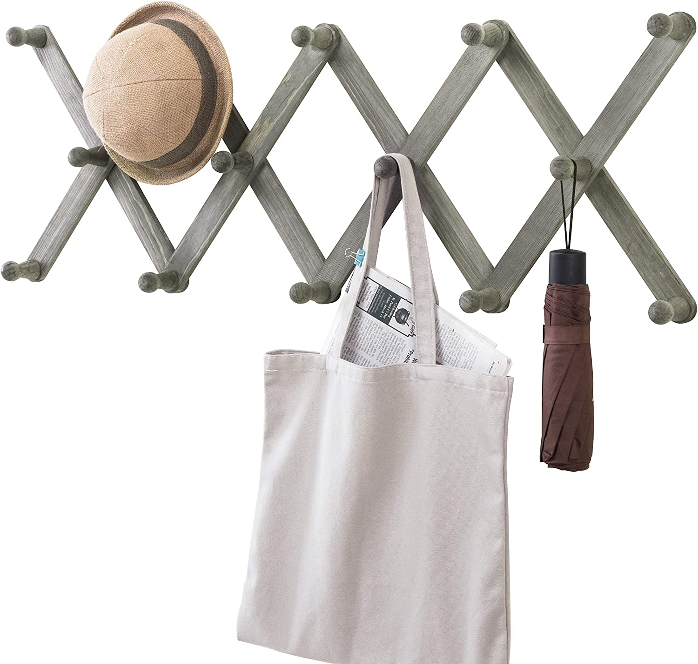 MyGift 14 Hook Vintage Gray Wood Wall Mounted Expandable Accordion Peg Coat Rack Hanger