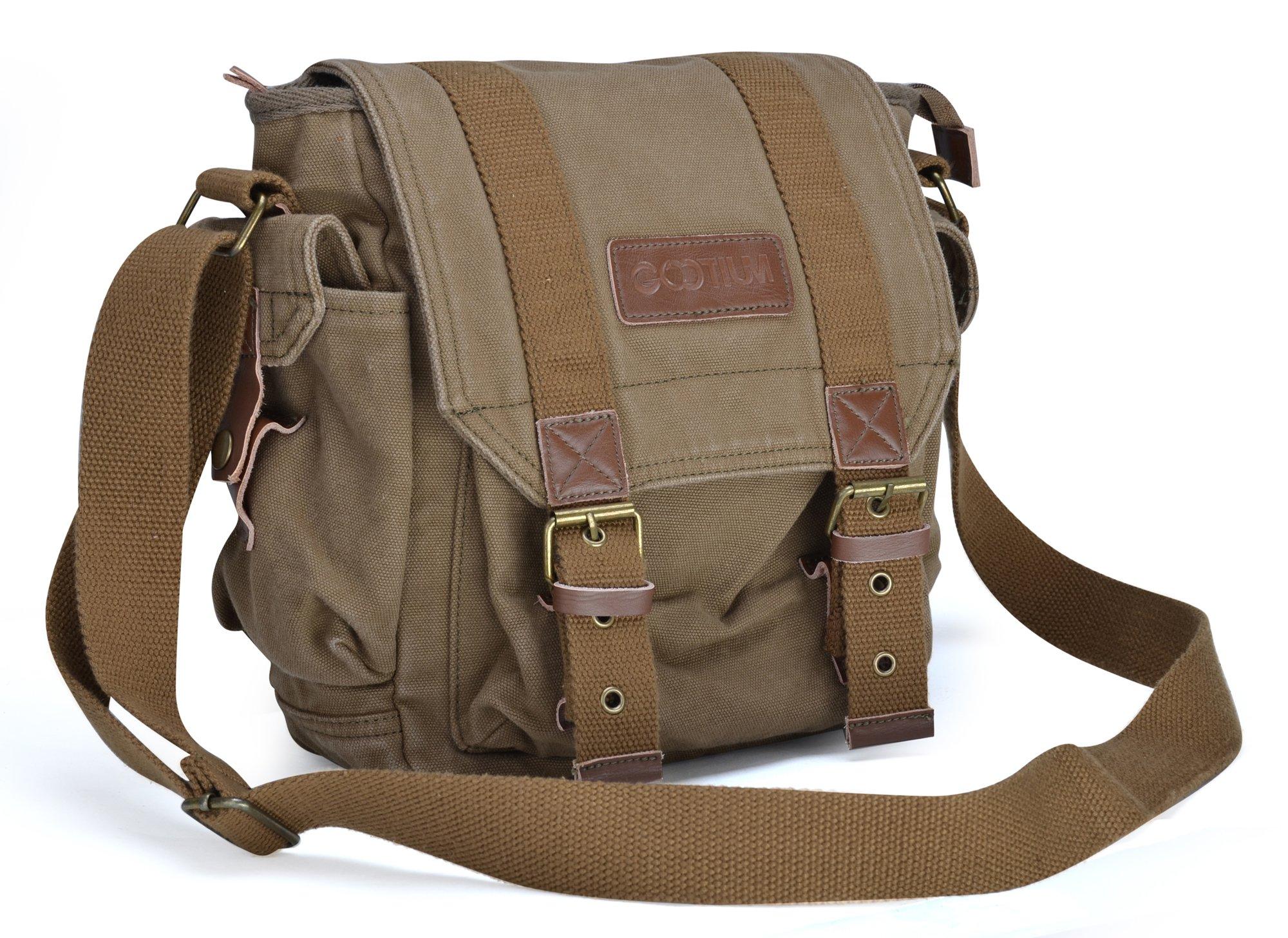 Gootium Canvas Messenger Bag - Small Vintage Shoulder Bag Crossbody Satchel, Army Green by Gootium