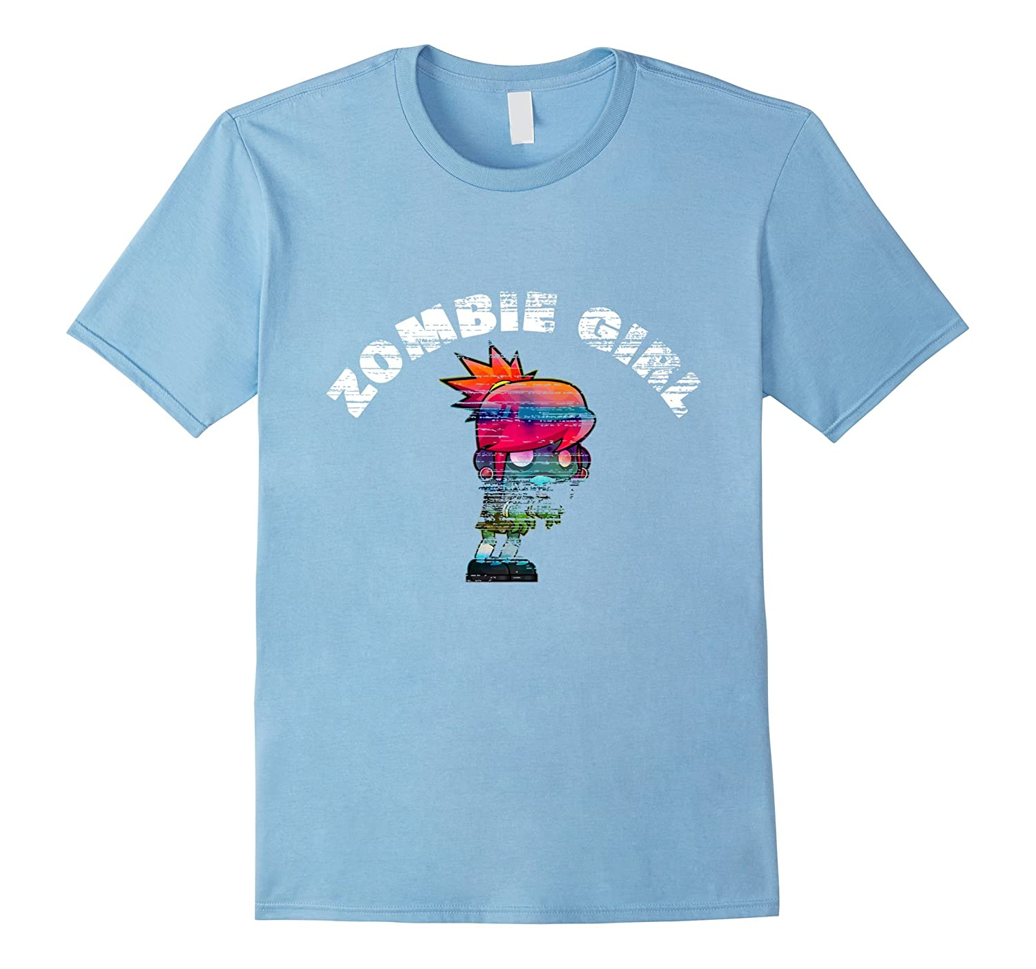 Zombie Girl Funny Distressed Halloween T-Shirt-TJ