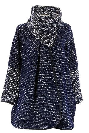9b850fbc484f Charleselie94® - Manteau Cape Laine Bouillie Hiver Grande Taille Bleu  Marine Violetta Bleu - 38
