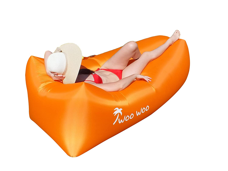Wooインフレータブルlounger- outdoors-防水用のエアソファーベッドエアマットレスソファbed- with Attachedサイドポケット快適、簡単にuse-軽量エアソファ室内と室外の B0735BW8YC オレンジ オレンジ