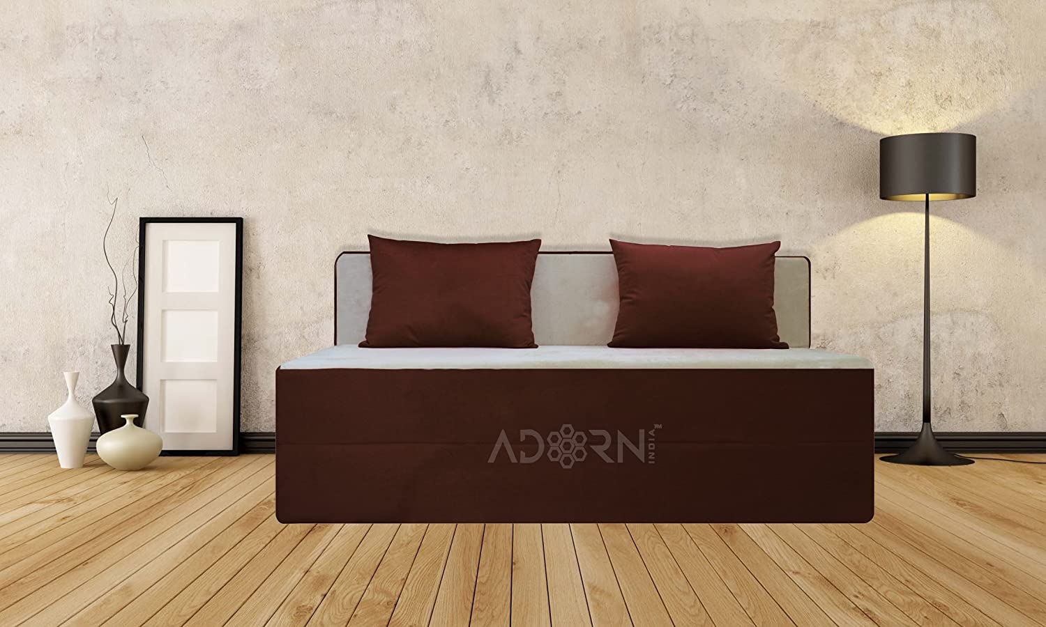 adorn india easy three seater sofa cum bed brown and gold amazon in home kitchen